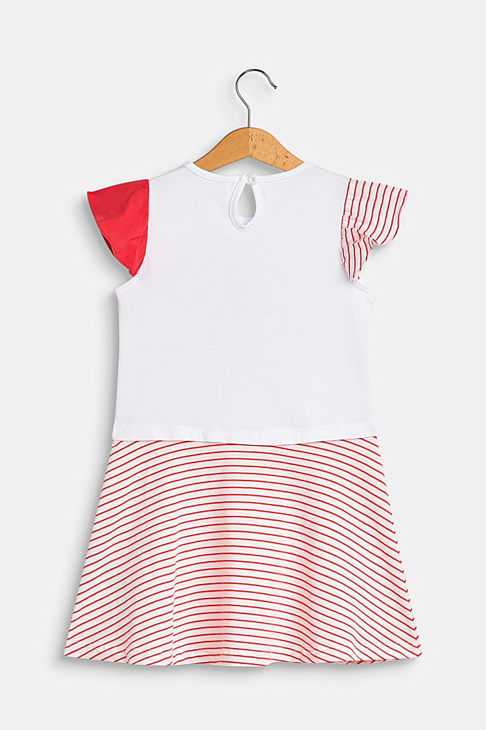 Jersey dress with a toucan print and stripes, WHITE, detail image number 1