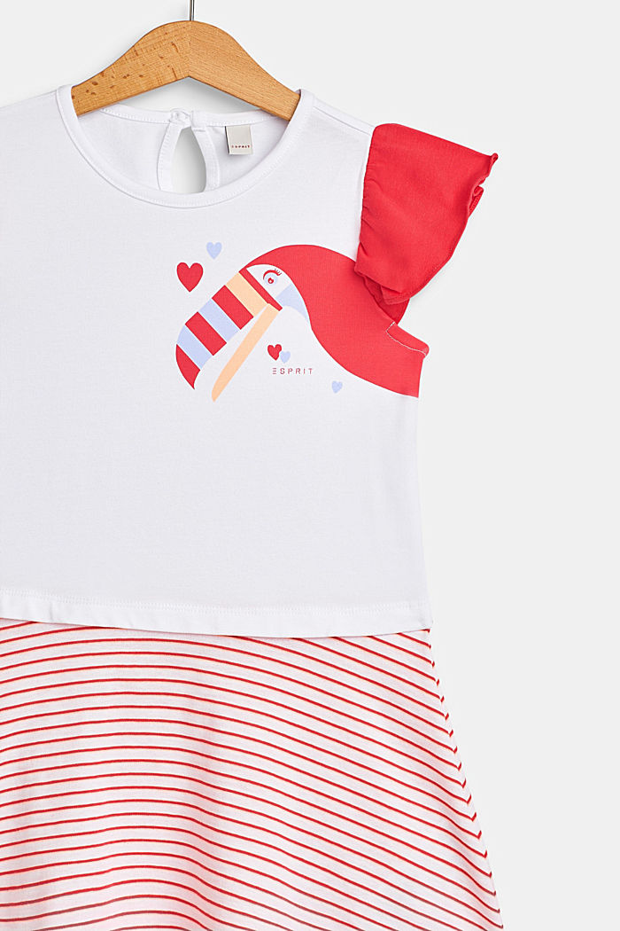 Jersey dress with a toucan print and stripes, WHITE, detail image number 2