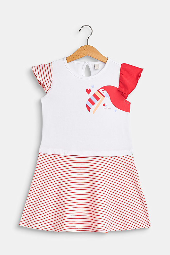 Jersey dress with a toucan print and stripes, WHITE, detail image number 0