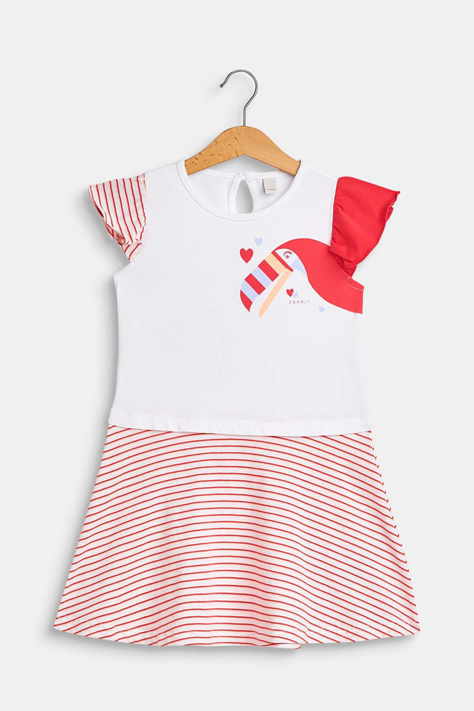 Esprit - Jersey dress with a toucan print and stripes