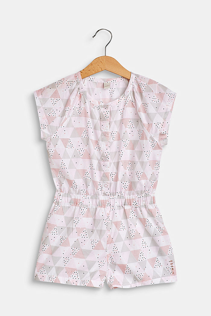 Patterned jumpsuit in 100% cotton, WHITE, detail image number 0