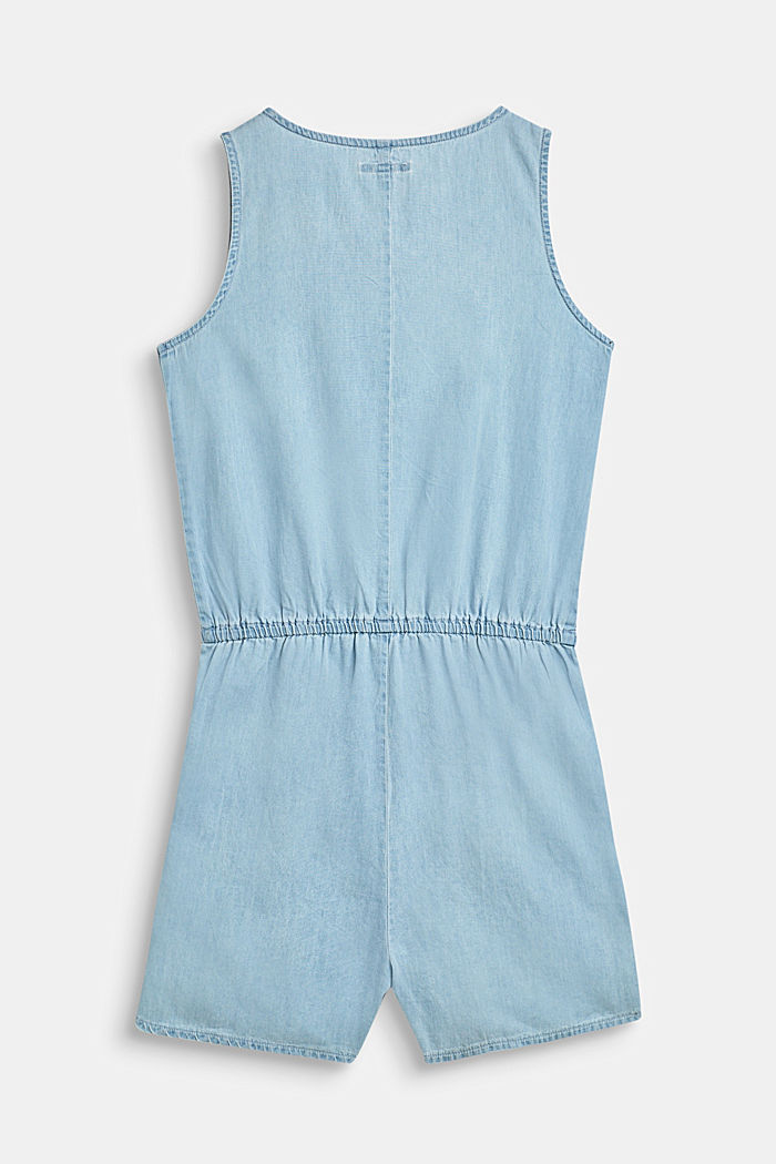 Jumpsuit in lightweight denim, 100% cotton, BLUE LIGHT WASHED, detail image number 1