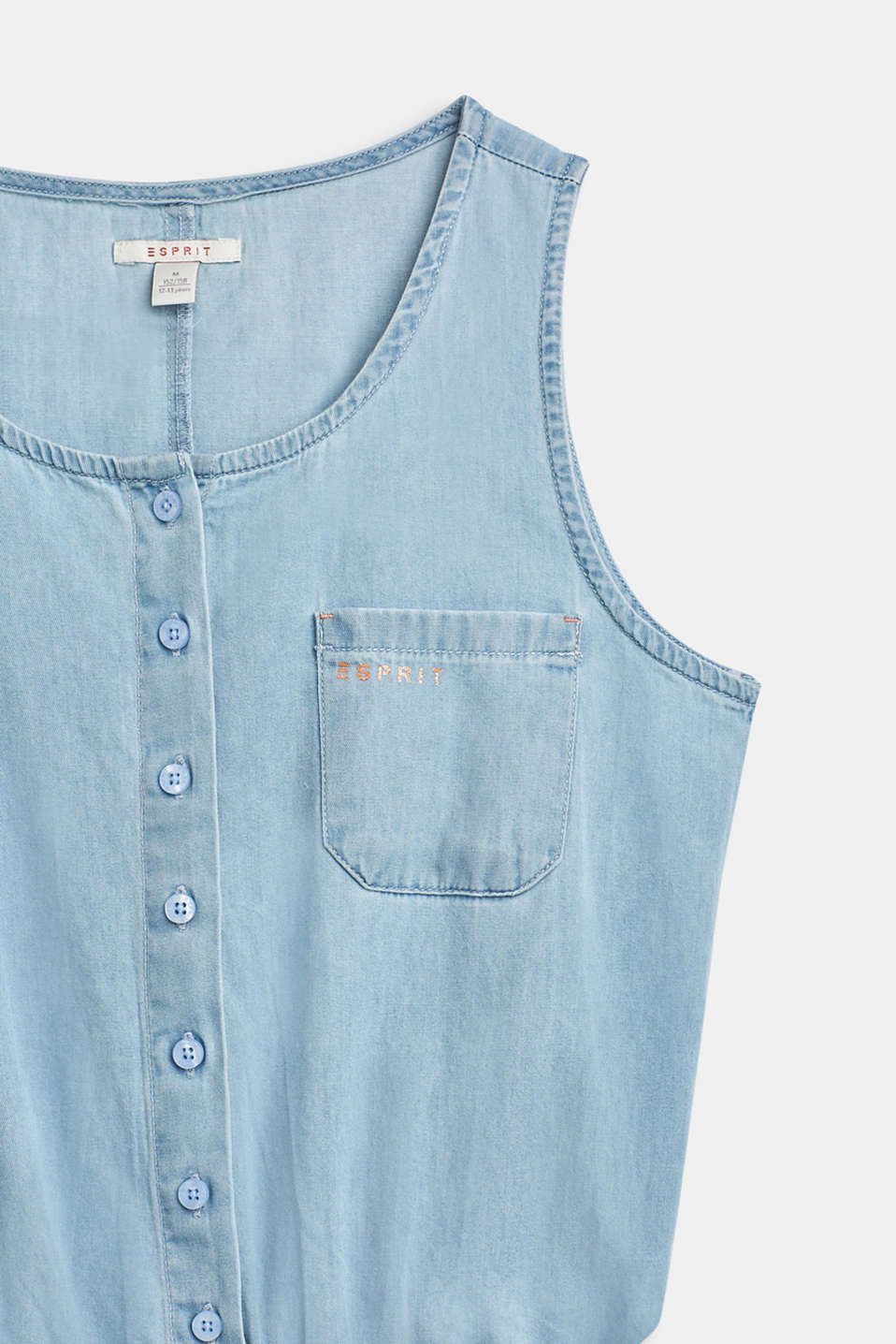 Jumpsuit in lightweight denim, 100% cotton, LCBLUE LIGHT WAS, detail image number 2