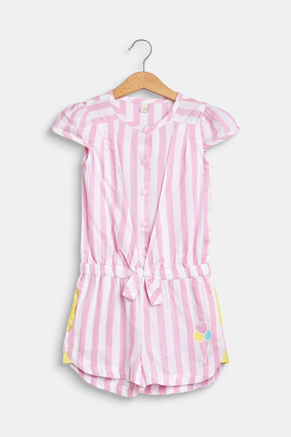 Esprit - Striped woven jumpsuit with an ice cream print