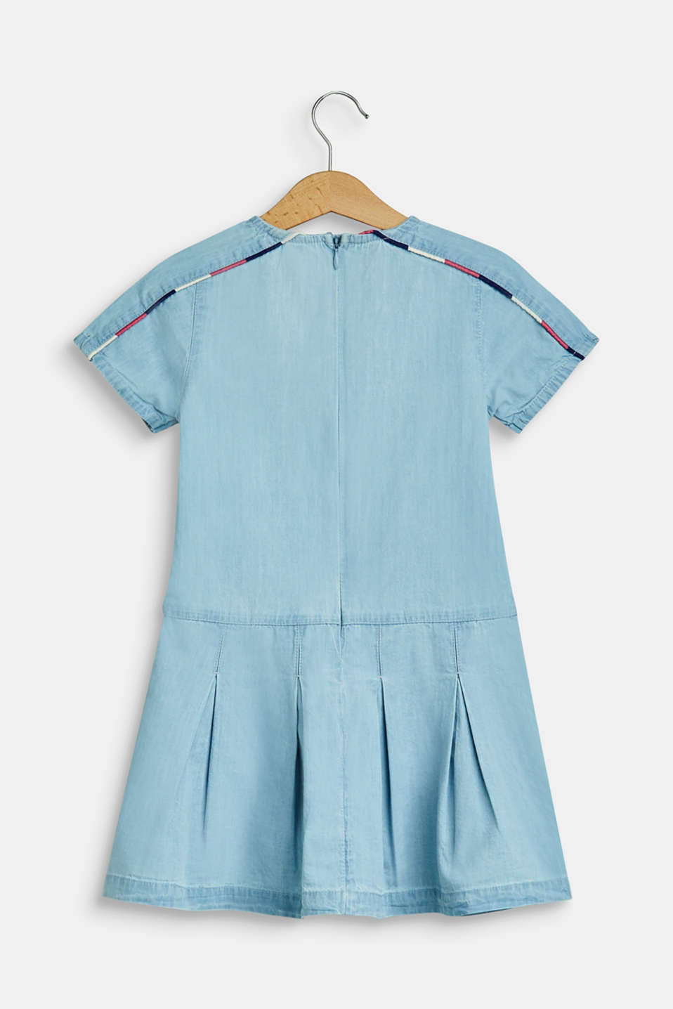 Denim dress with piping, 100% cotton, BLEACHED DENIM, detail image number 1