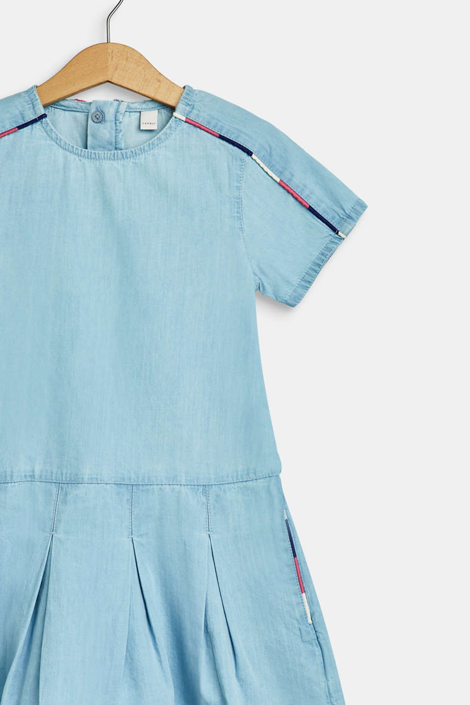 Denim dress with piping, 100% cotton, BLEACHED DENIM, detail image number 2