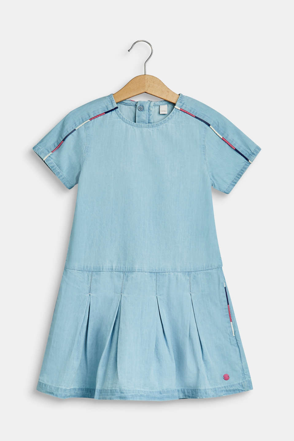 Denim dress with piping, 100% cotton, BLEACHED DENIM, detail image number 0