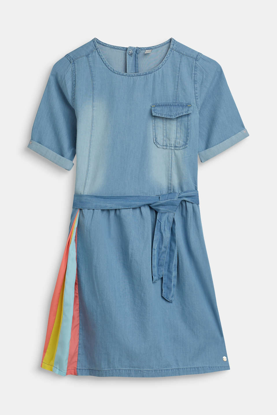 Esprit - Denim dress with a striped insert, 100% cotton
