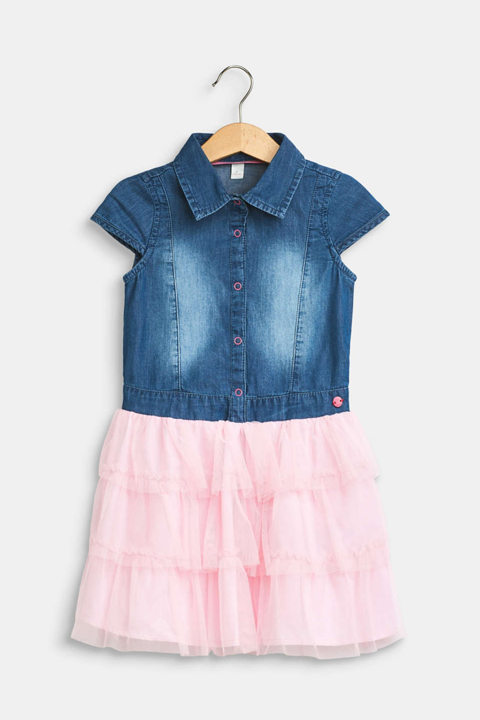 Esprit - Dress with a denim top and tulle skirt