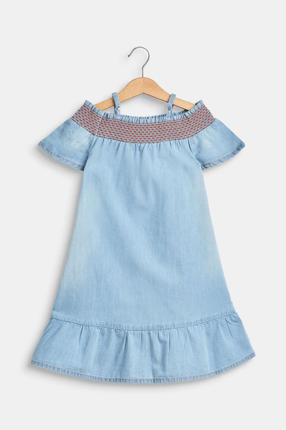 Off-the-shoulder dress in a denim look, 100% cotton, BLUE LIGHT WAS, detail image number 1