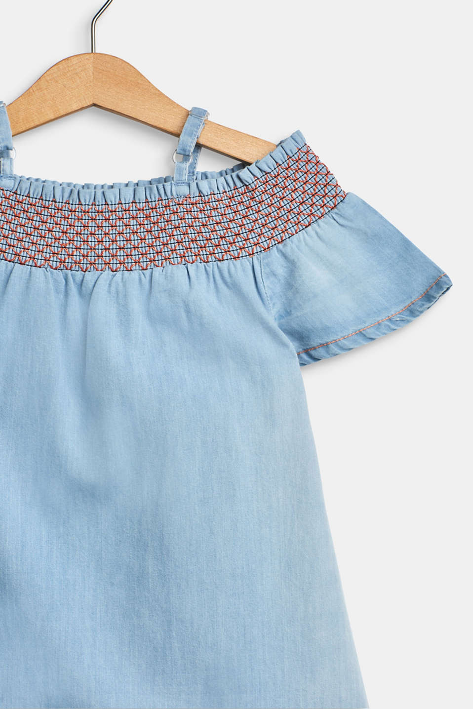 Off-the-shoulder dress in a denim look, 100% cotton, BLUE LIGHT WAS, detail image number 2
