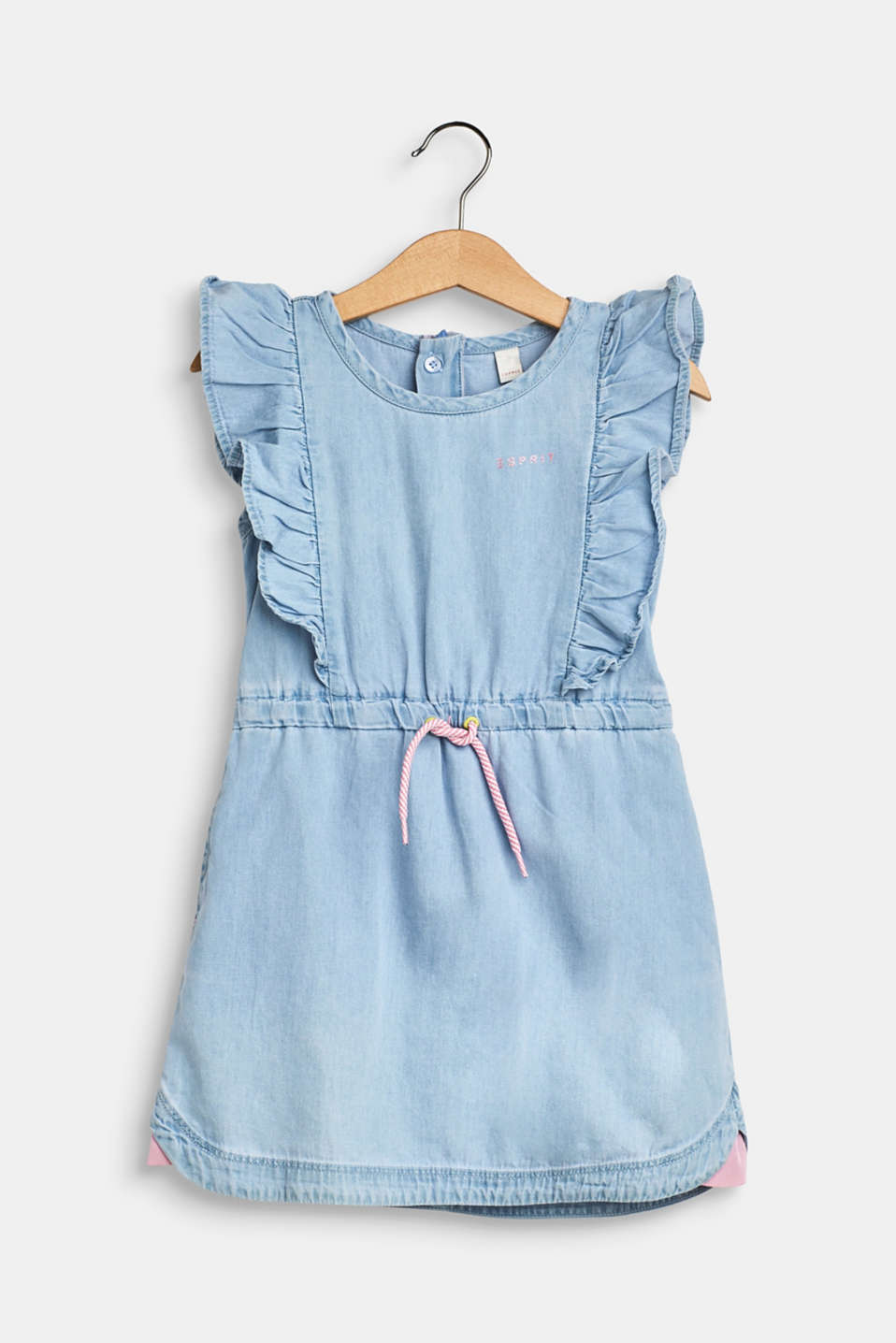 Esprit - Denim dress with flounces, 100% cotton