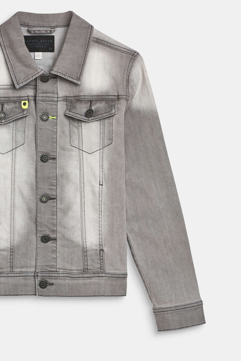 Denim jacket with stretch and neon details, LCLIGHT GREY DEN, detail image number 2