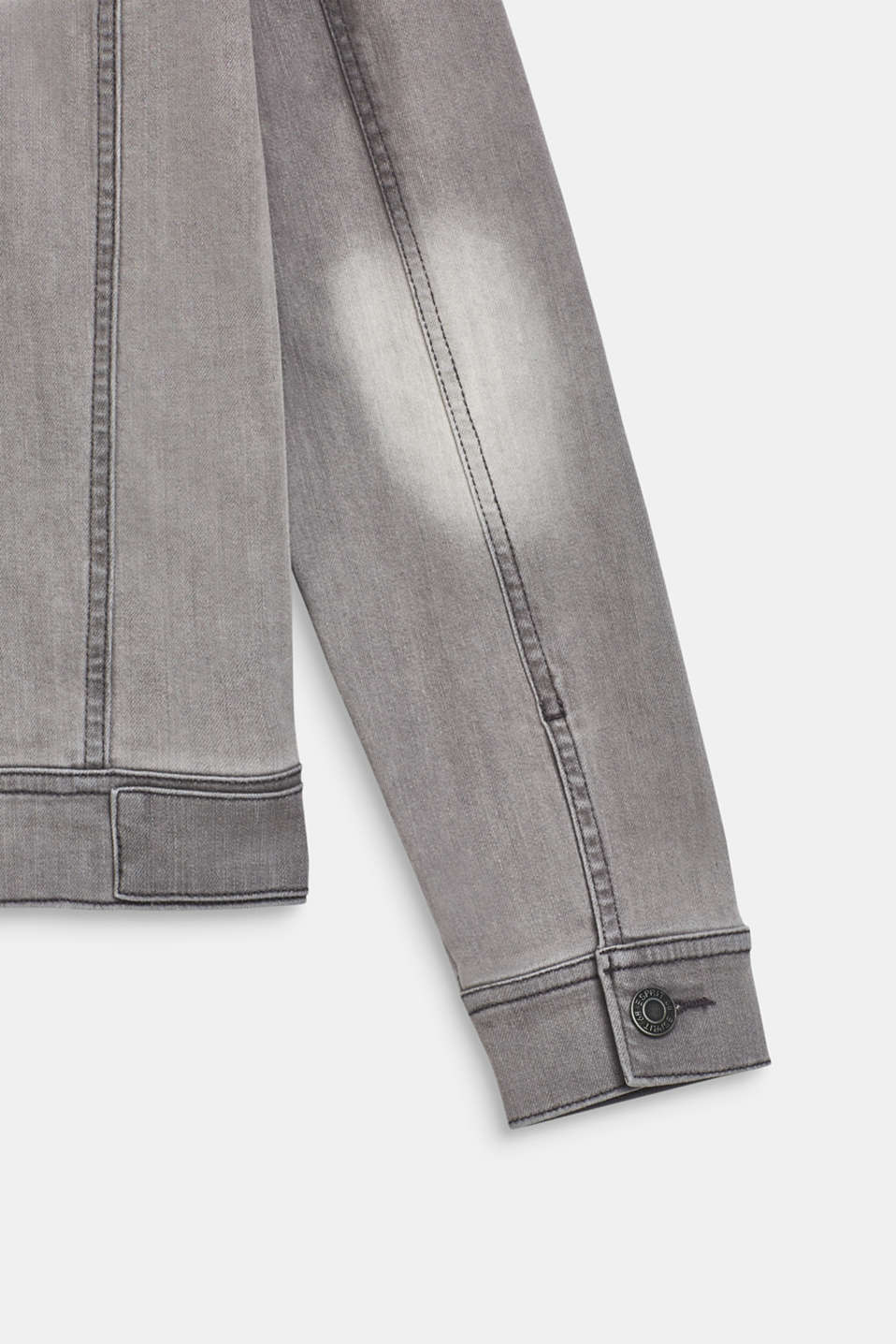 Denim jacket with stretch and neon details, LCLIGHT GREY DEN, detail image number 4