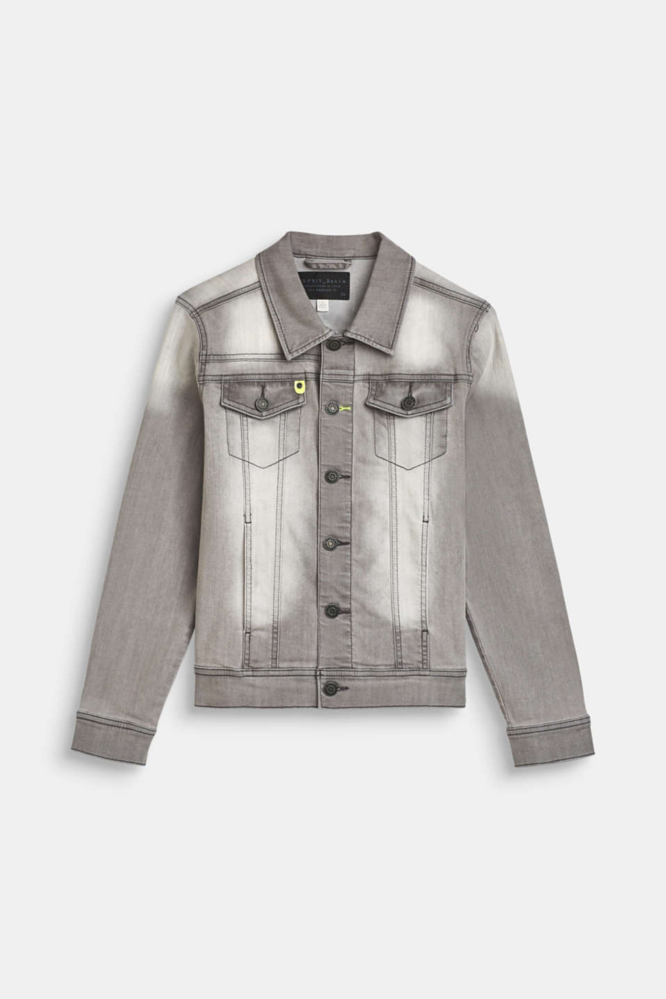 Denim jacket with stretch and neon details, LCLIGHT GREY DEN, detail image number 0
