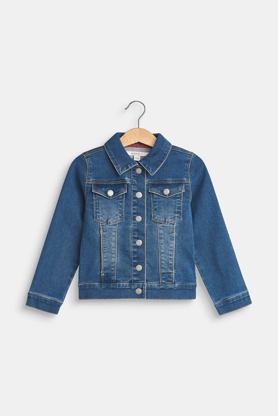 Esprit - Stretch denim jacket with garment-washed effects