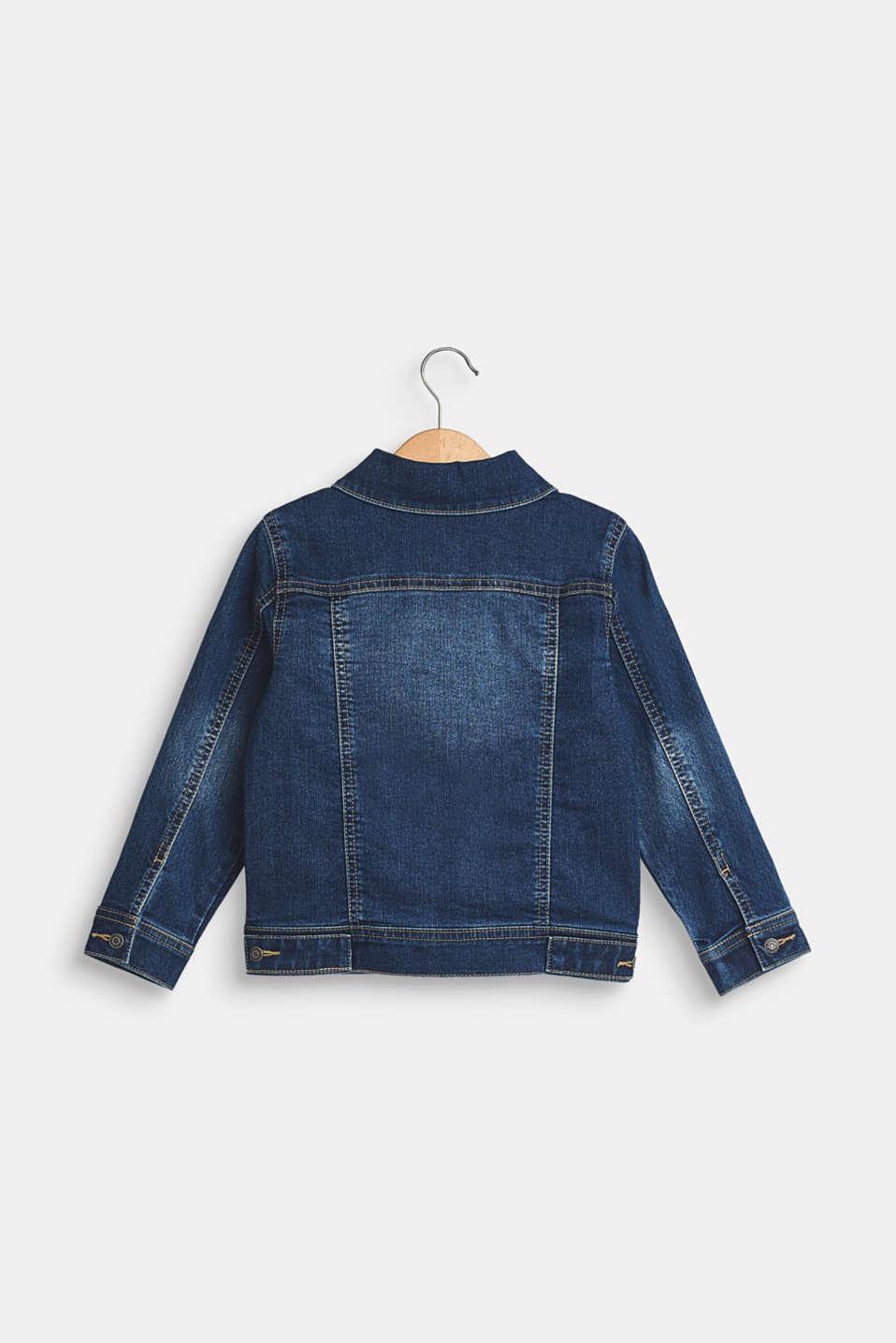 Stretch denim jacket with garment-washed effects, MEDIUM WASH DE, detail image number 1