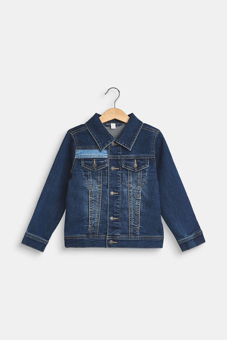 Esprit - Denim jack met stretch en garment-washed effecten