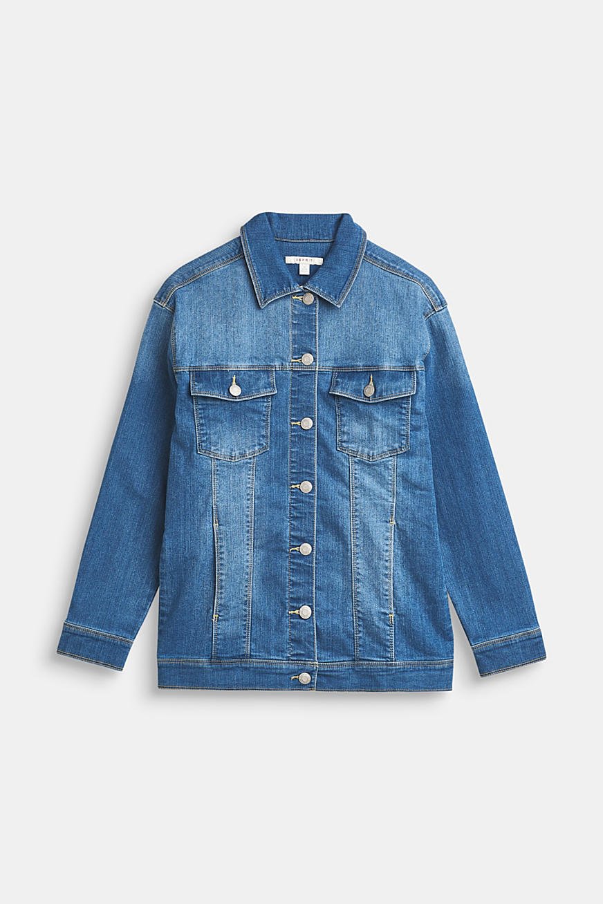 Lang denim jack met stretch