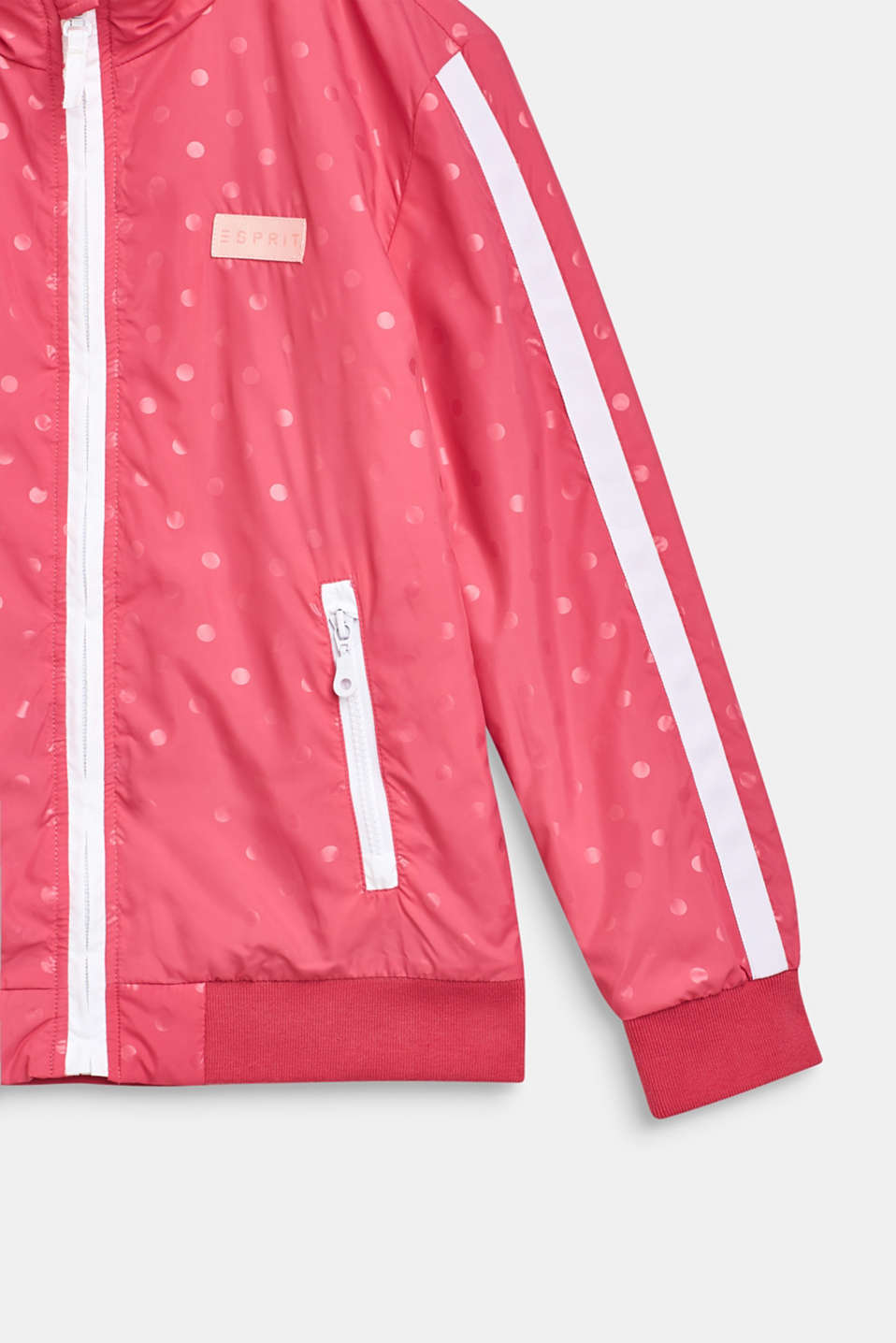 Lightly padded nylon jacket with a polka dot print, LCDARK PINK, detail image number 2