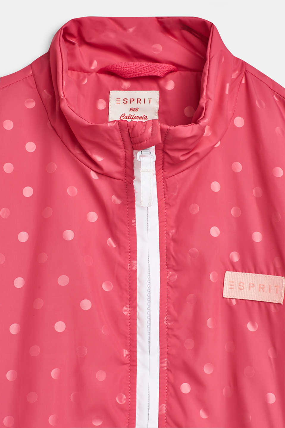 Lightly padded nylon jacket with a polka dot print, LCDARK PINK, detail image number 3