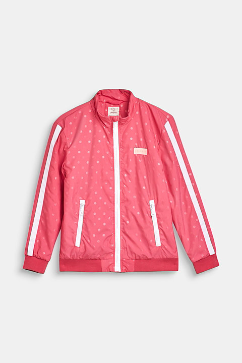 Lightly padded nylon jacket with a polka dot print