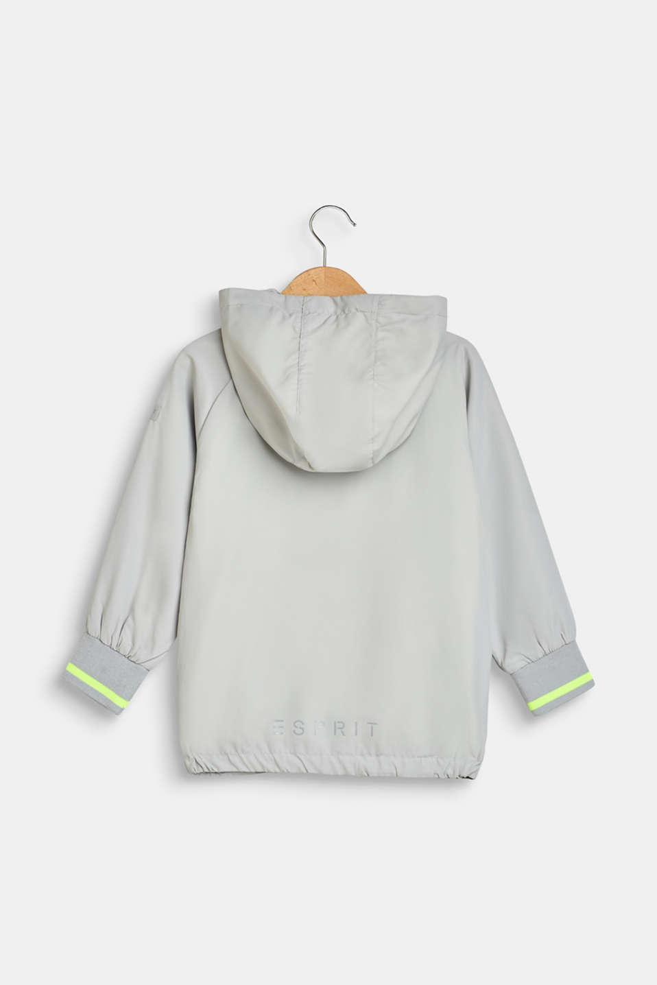 Nylon jacket with a hood and neon details, LIGHT GREY, detail image number 1