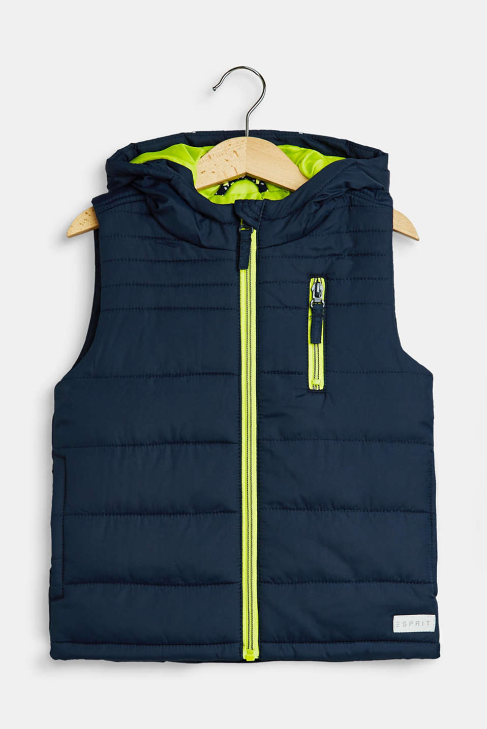 Esprit - Hooded quilted body warmer with neon details