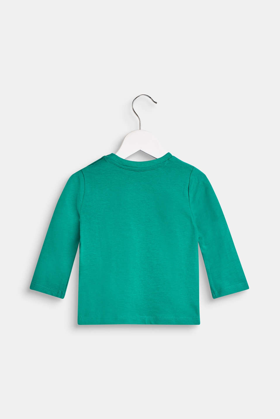 Printed long sleeve top, 100% cotton, LCMID GREEN, detail image number 1