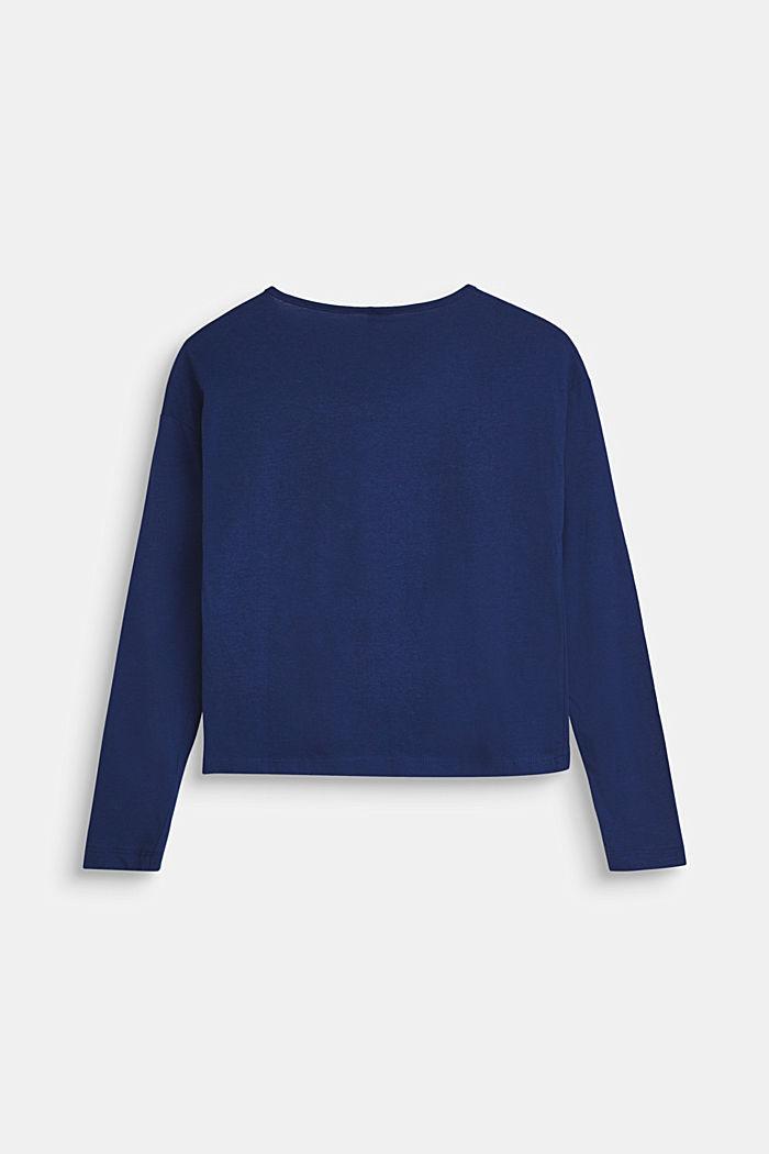 Bluzka z długim rękawem i nadrukowanym napisem, 100% bawełny, MARINE BLUE, detail image number 1