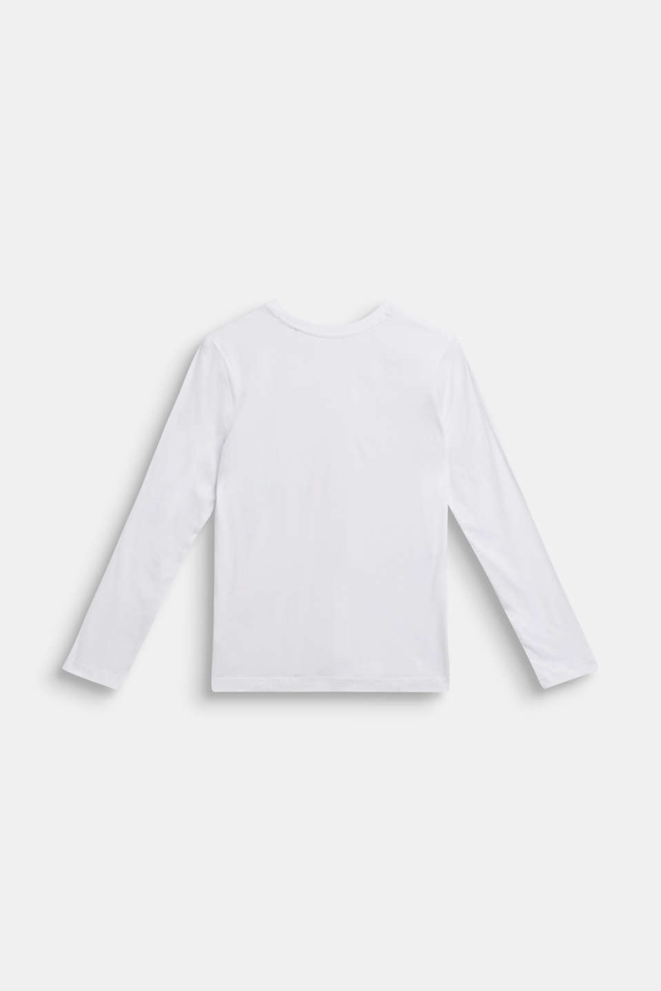 Long sleeve top with logo print, 100% cotton, LCWHITE, detail image number 1