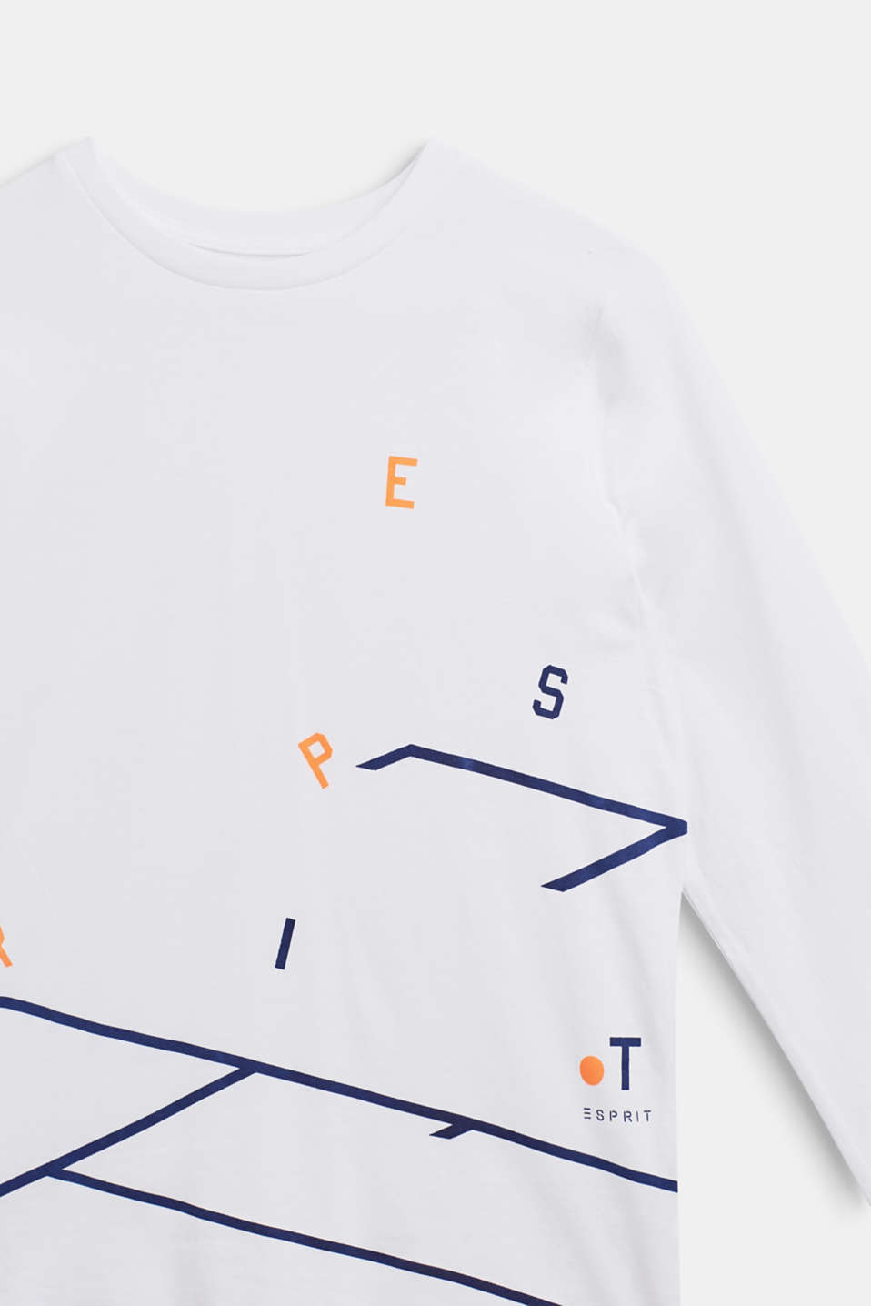 Long sleeve top with logo print, 100% cotton, LCWHITE, detail image number 2