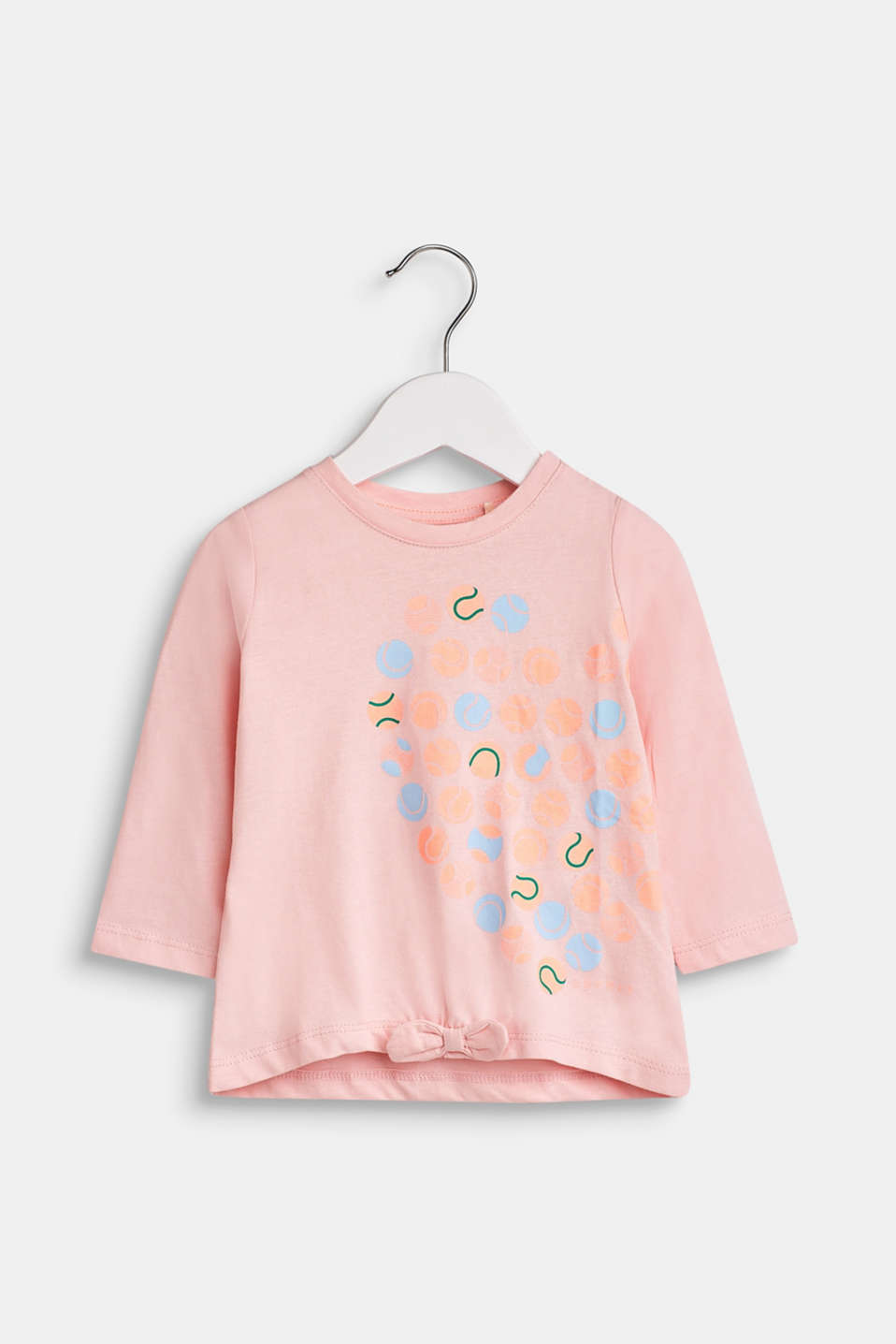 Long sleeve top with a front print, 100% cotton, LCTINTED ROSE, detail image number 0