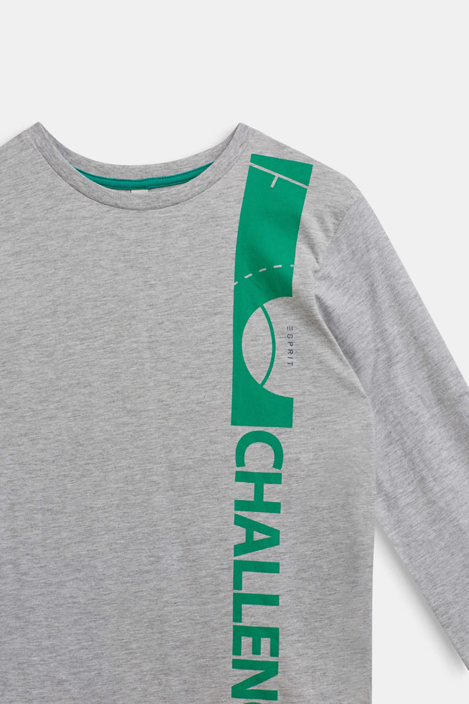 Statement long sleeve top, 100% cotton, LCHEATHER SILVER, detail image number 2