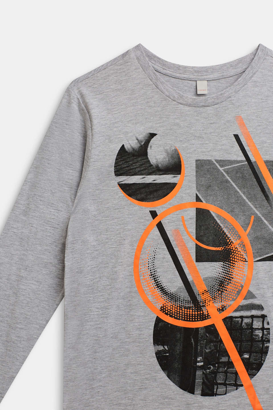 Long sleeve top with neon print, LCHEATHER SILVER, detail image number 2