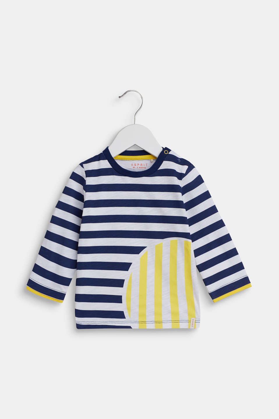 Esprit - Long sleeve top with a striped print, 100% cotton