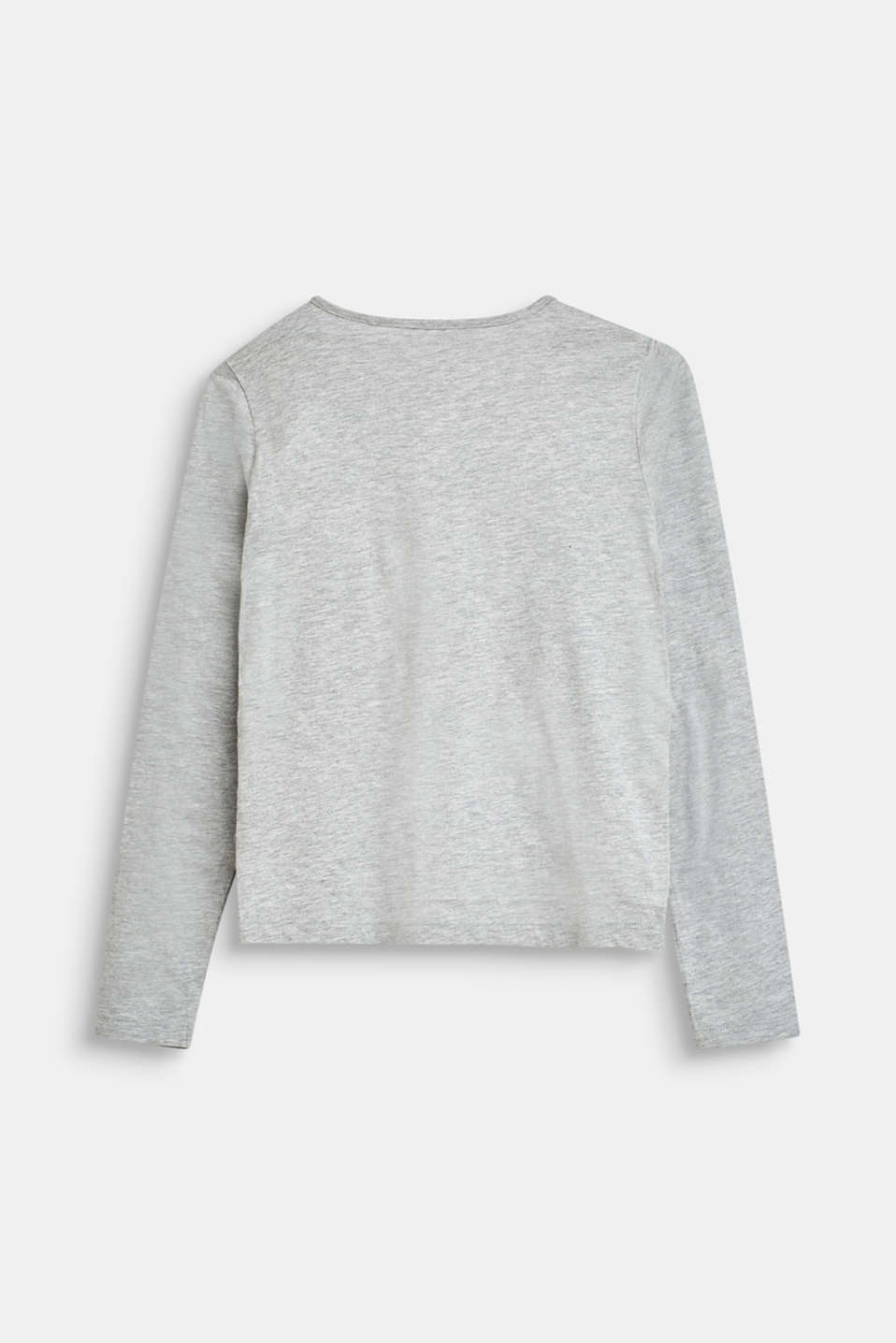 Long sleeve top with a logo print and frill details, LCHEATHER SILVER, detail image number 1