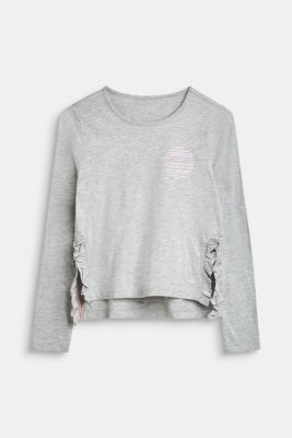 Long sleeve top with a logo print and frill details, LCHEATHER SILVER, detail