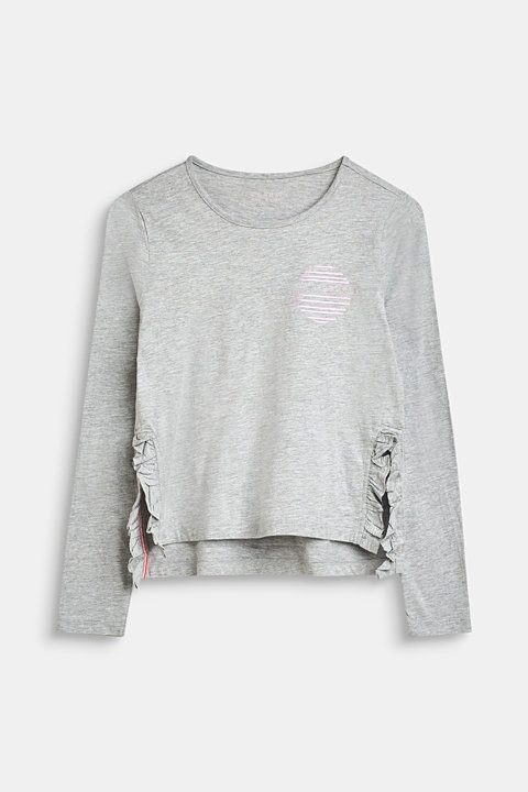 Long sleeve top with a logo print and frill details