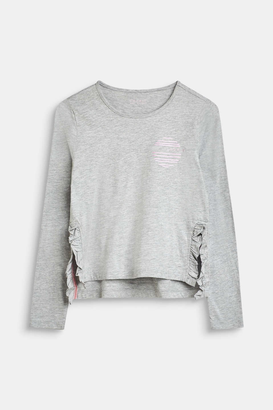 Long sleeve top with a logo print and frill details, LCHEATHER SILVER, detail image number 0