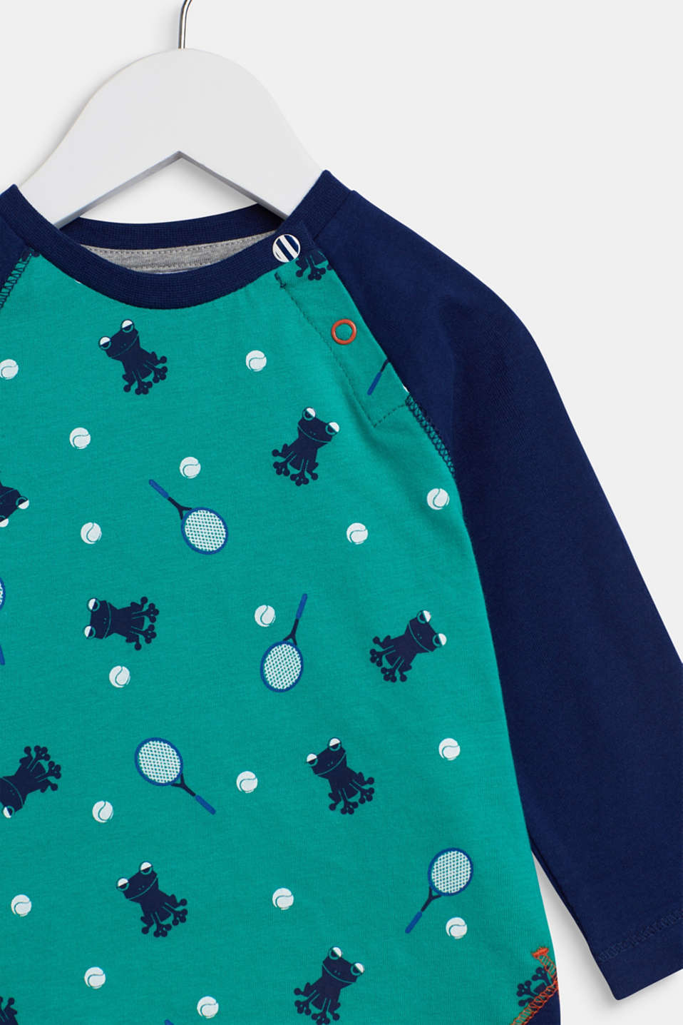 Long sleeve top with a sports motif, 100% cotton, LCMID GREEN, detail image number 2