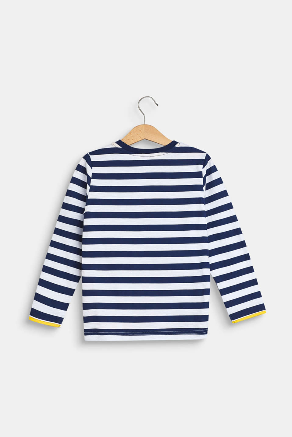 Long sleeve top with a striped print, 100% cotton, MARINE BLUE, detail image number 1