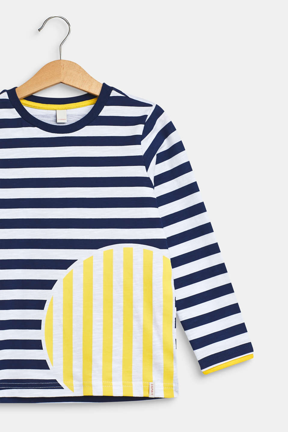 Long sleeve top with a striped print, 100% cotton, MARINE BLUE, detail image number 2