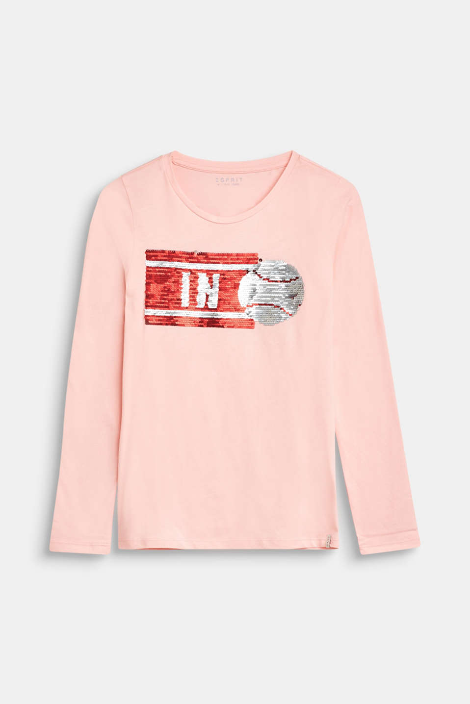 Long sleeve top with reversible sequins, 100% cotton, LCTINTED ROSE, detail image number 0