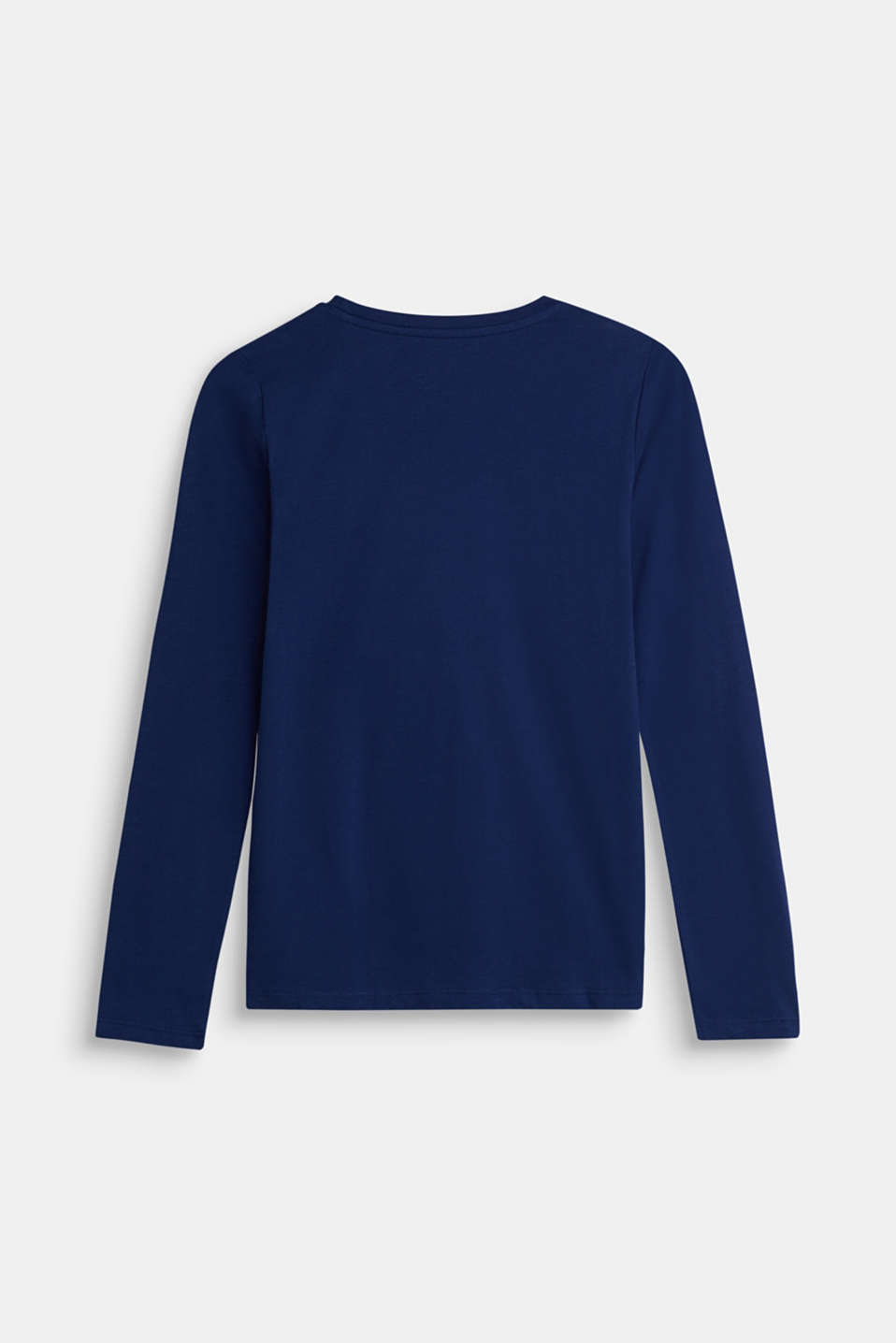 Long sleeve top with reversible sequins, 100% cotton, LCMARINE BLUE, detail image number 1