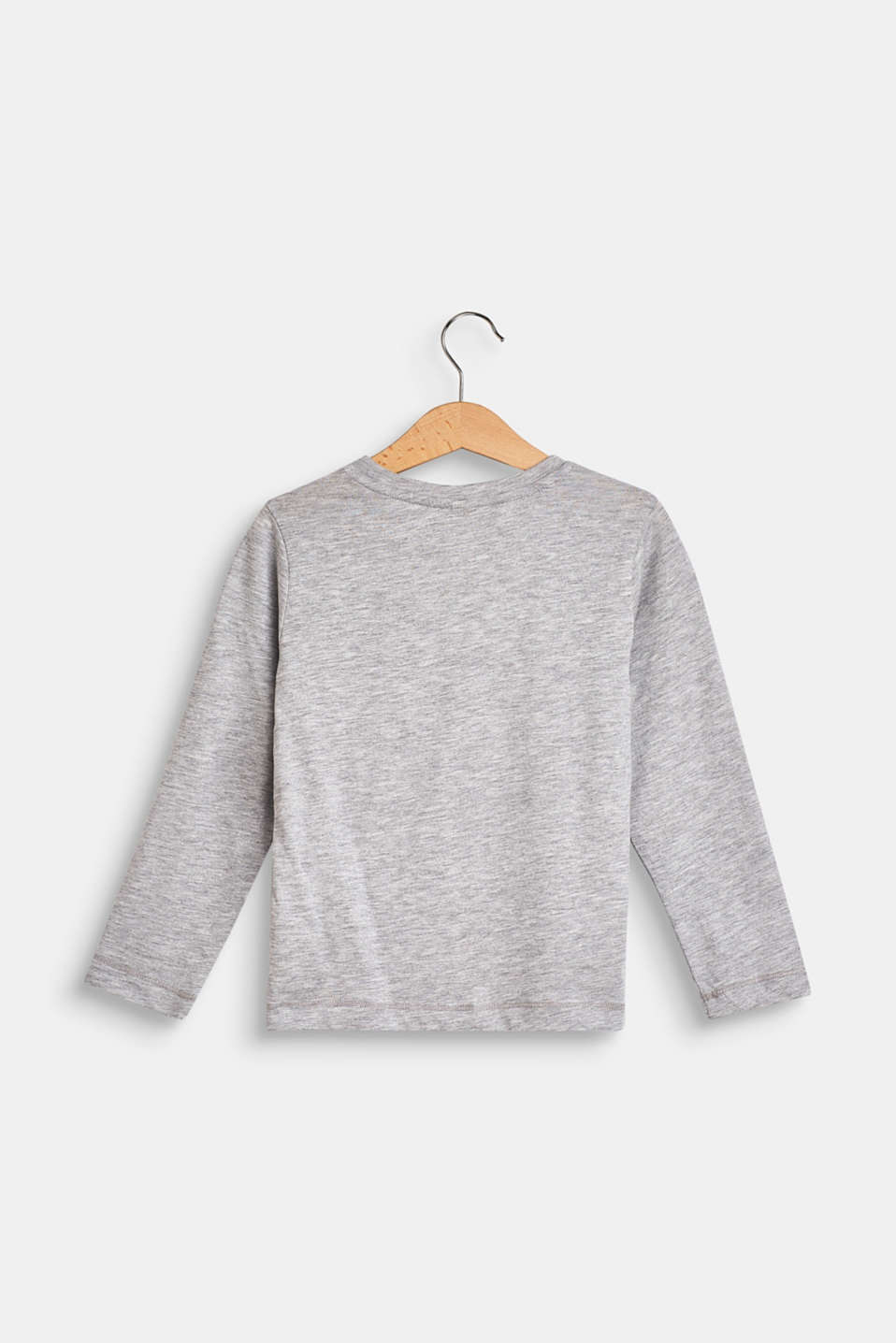Long sleeve top with a print and reversible sequins, HEATHER SILVER, detail image number 1