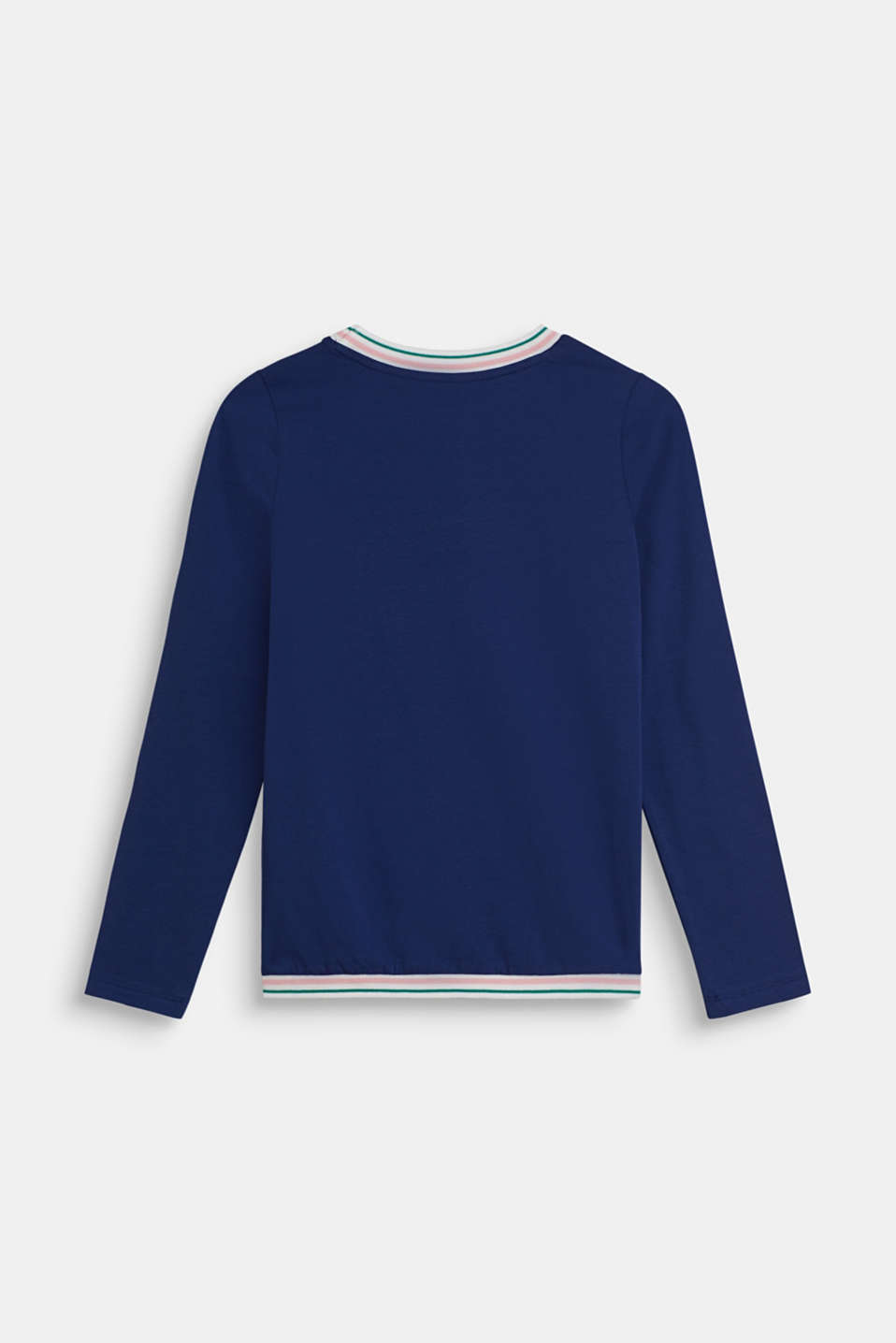 Long sleeve top with sequins, made of stretch cotton, LCMARINE BLUE, detail image number 1