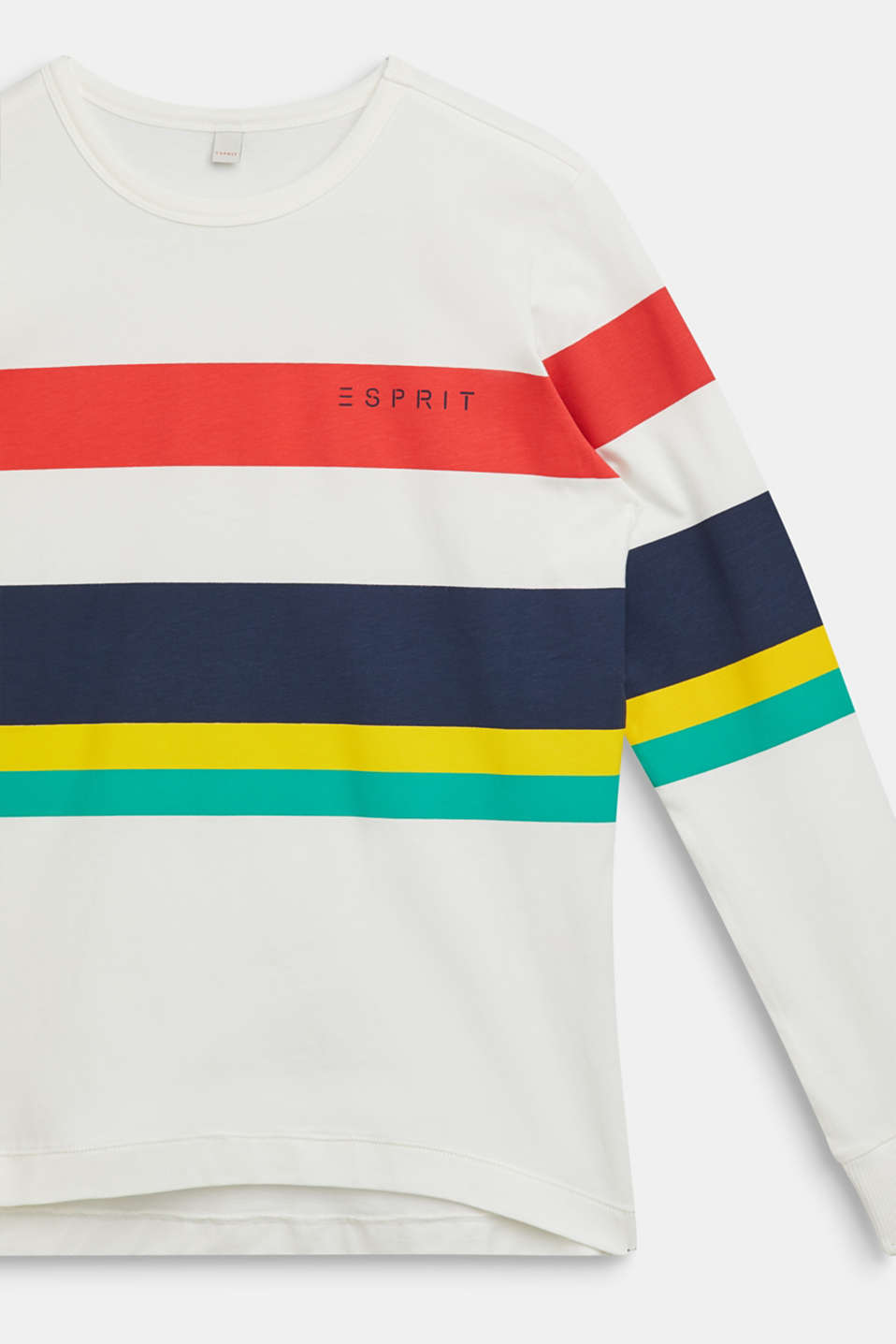 Striped long sleeve top, 100% cotton, LCOFF WHITE, detail image number 2