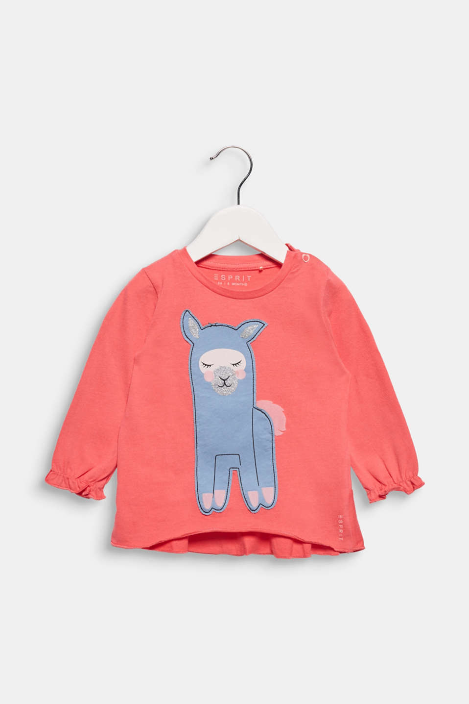 Esprit - Long sleeve top with llama, 100% cotton