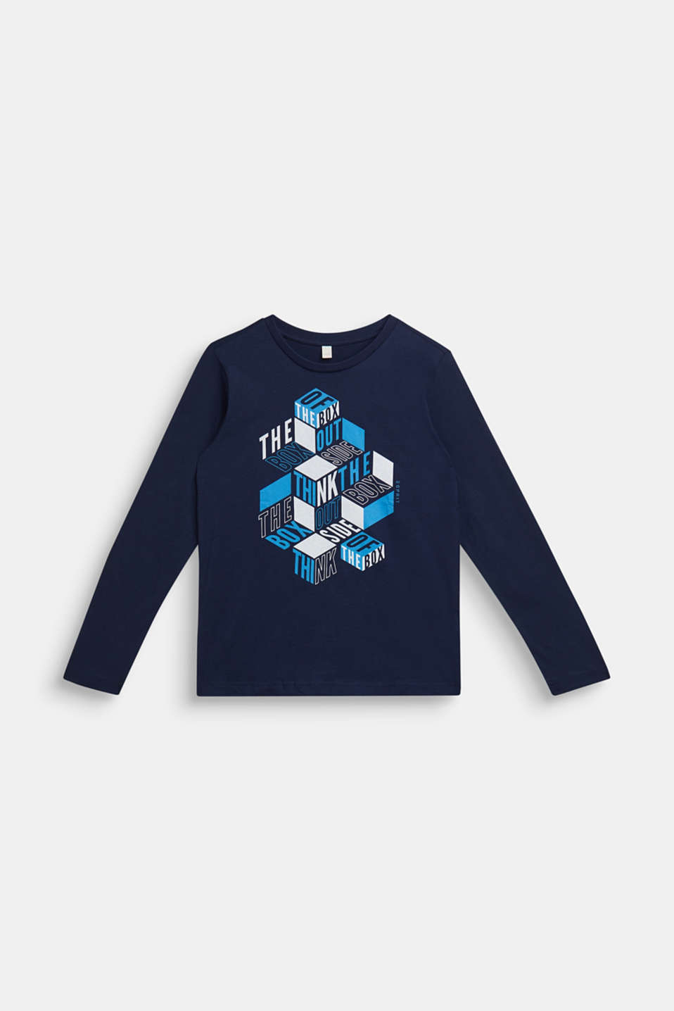 Esprit - Long sleeve T-shirt with 3D print, 100% cotton